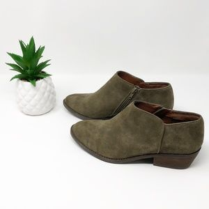 Lucky Brand Suede Booties Olive Green Size 8.5